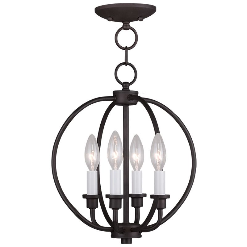 Livex Lighting 4664 Milania 4 Light Pendant Bronze Indoor Lighting