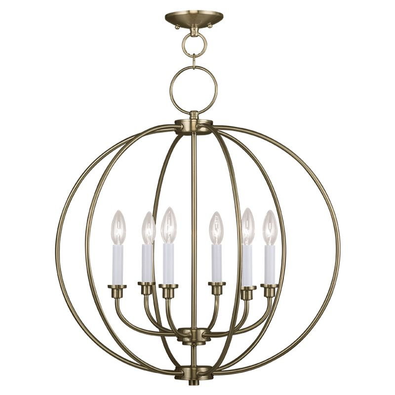 Livex Lighting 4666 Milania 6 Light 1 Tier Chandelier Antique Brass