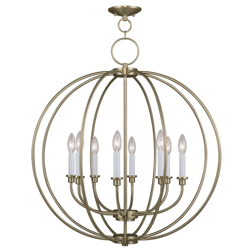 Livex Lighting 4668 Milania 8 Light 1 Tier Chandelier Antique Brass