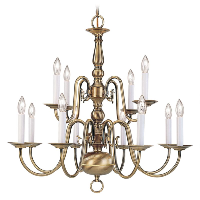 Livex Lighting 5012 Williamsburg 12 Light 2 Tier Chandelier Antique Sale $319.90 ITEM: bci1034122 ID#:5012-01 :