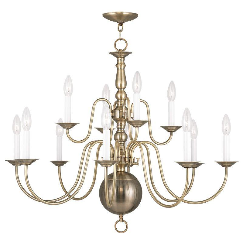 Livex Lighting 5014 01 Antique Brass Williamsburg 12 Light