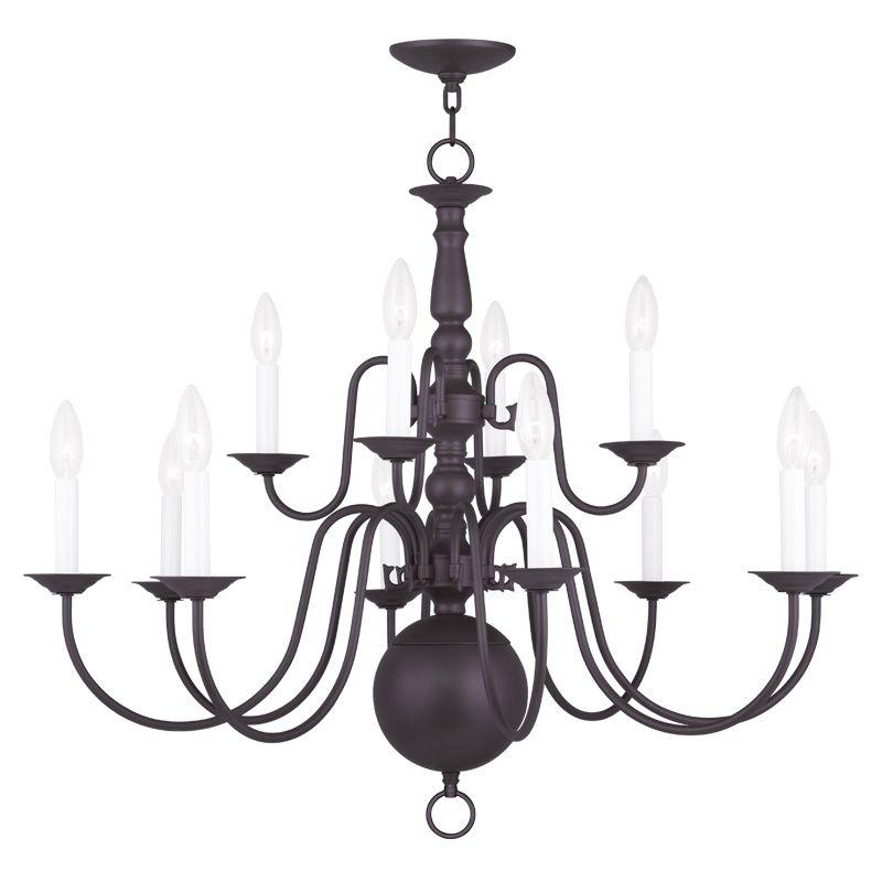 Livex Lighting 5014 Williamsburg 12 Light 2 Tier Chandelier Bronze