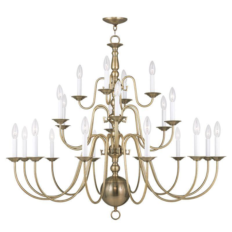 Livex Lighting 5015 Williamsburg 22 Light 3 Tier Chandelier Antique