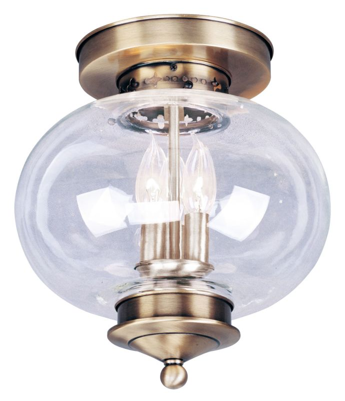 Livex Lighting 5033 Harbor 3 Light Semi-Flush Ceiling Fixture Antique