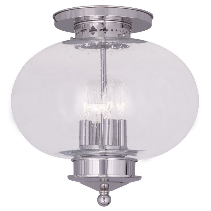 Livex Lighting 5038 Harbor 4 Light Semi-Flush Ceiling Fixture Polished