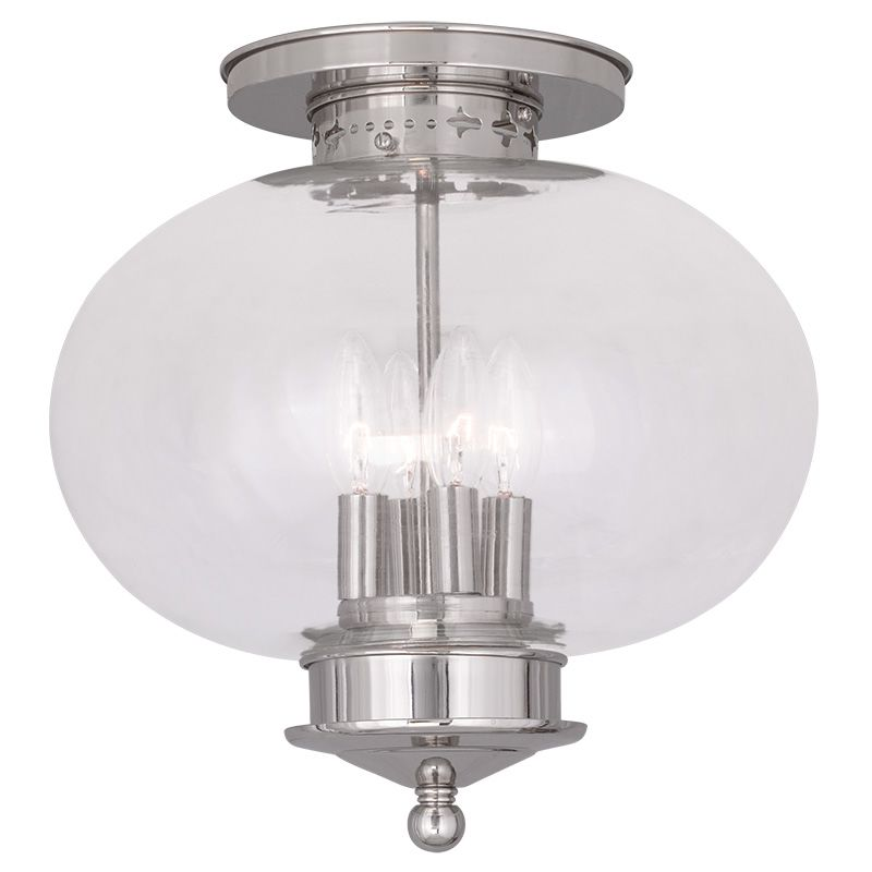 Livex Lighting 5039 Harbor 4 Light Semi-Flush Ceiling Fixture Polished
