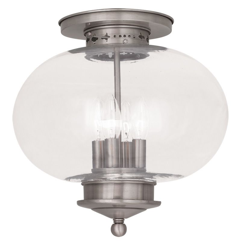 Livex Lighting 5039 Harbor 4 Light Semi-Flush Ceiling Fixture Brushed
