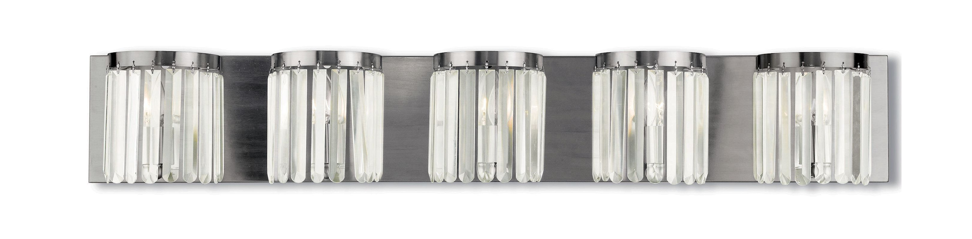 Livex Lighting 50535 Ashton 5 Light Vanity Light with Clear Crystal
