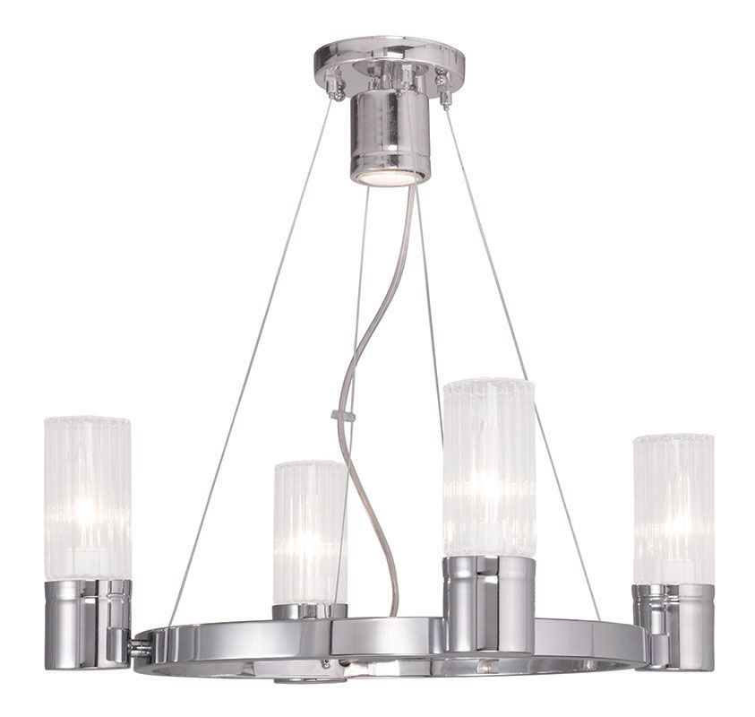 Livex Lighting 50694 Midtown 4 Light 1 Tier Mini Chandelier Chrome