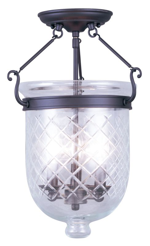 Livex Lighting 5072 Jefferson 3 Light Semi-Flush Ceiling Fixture