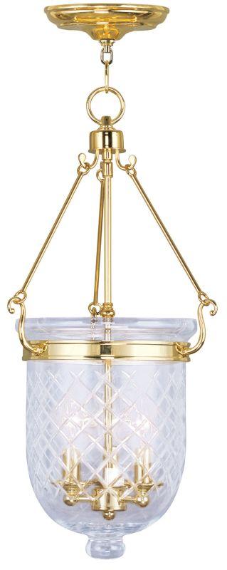 Livex Lighting 5074 Jefferson 3 Light Pendant Polished Brass Indoor