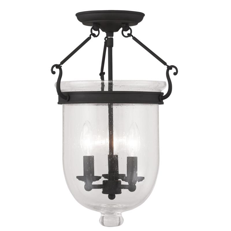 lighting 5082 04 black jefferson 3 light semi flush ceiling fixture