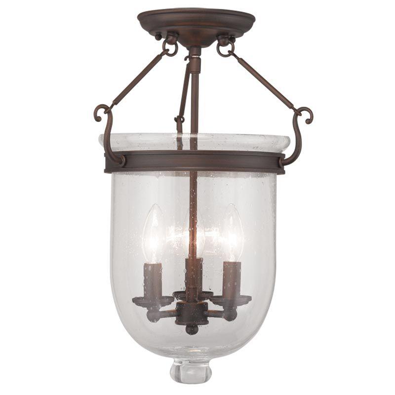 Livex Lighting 5082 Jefferson 3 Light Semi-Flush Ceiling Fixture