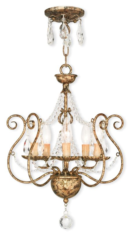 Livex Lighting 51915 Isabella Convertible 5 Light 1 Tier Chandelier /