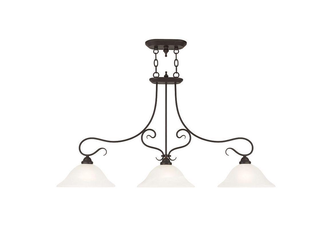 Livex Lighting 6108 Coronado 3 Light 1 Tier Linear Chandelier Bronze