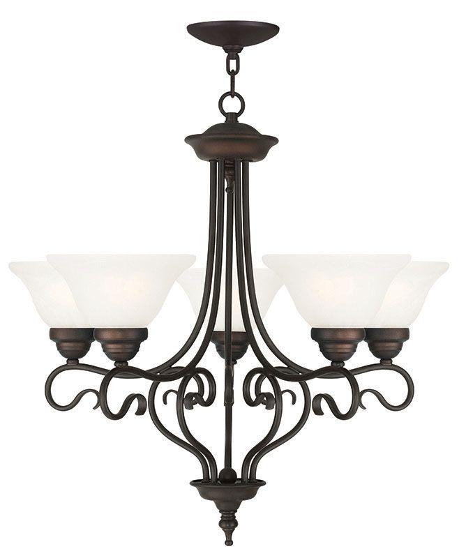 Livex Lighting 6115 Coronado 5 Light 1 Tier Chandelier Bronze Indoor