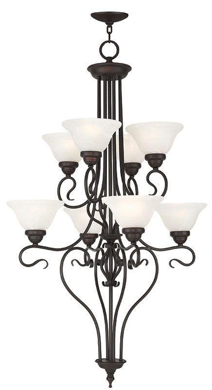 Livex Lighting 6118 Coronado 8 Light 2 Tier Chandelier Bronze Indoor