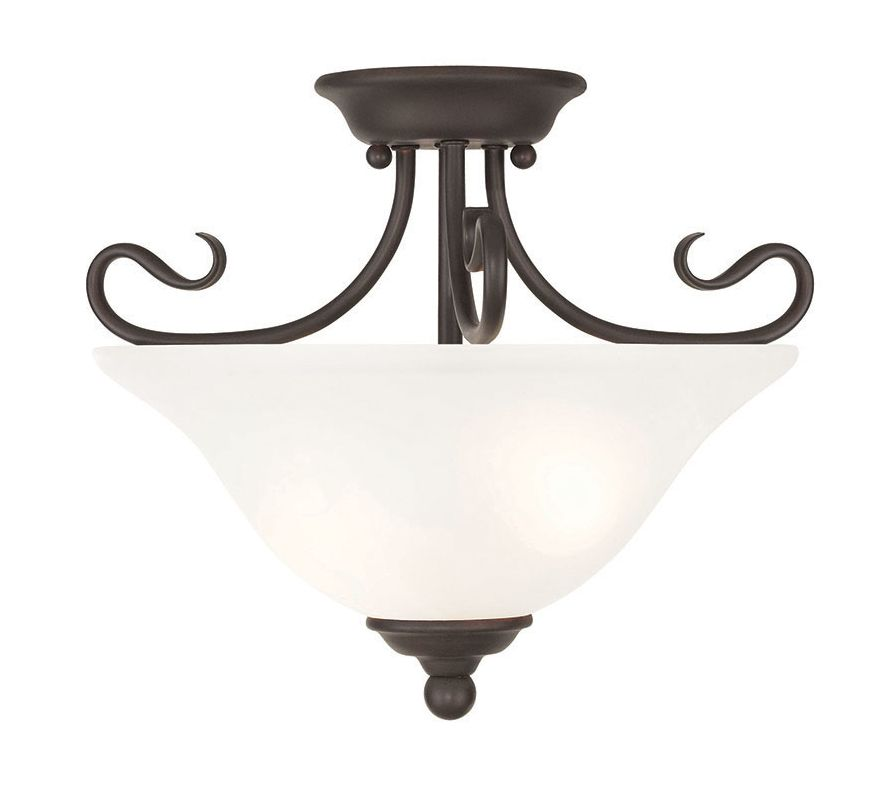 Livex Lighting 6121 Coronado 2 Light Semi-Flush Ceiling Fixture Bronze
