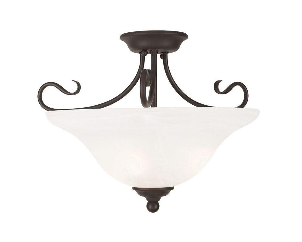 Livex Lighting 6130 Coronado 3 Light Semi-Flush Ceiling Fixture Bronze