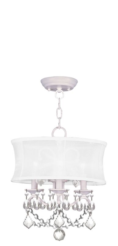Livex Lighting 6303 Newcastle 3 Light Semi-Flush Ceiling Fixture White
