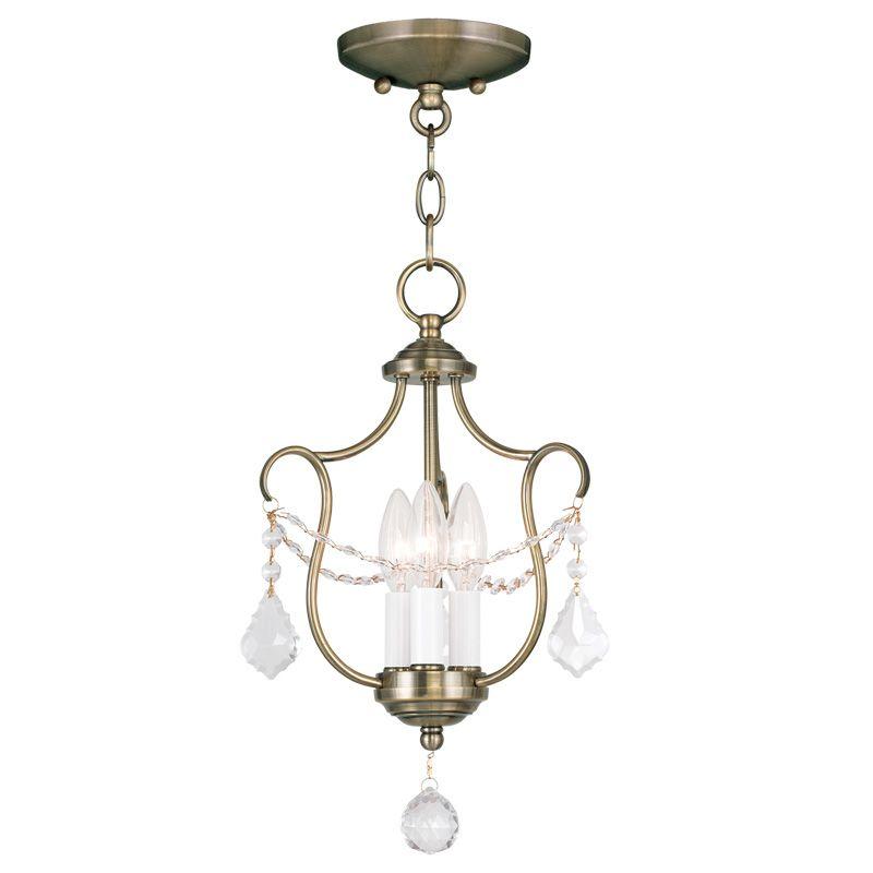 Livex Lighting 6420 Chesterfield 3 Light Pendant Antique Brass Indoor