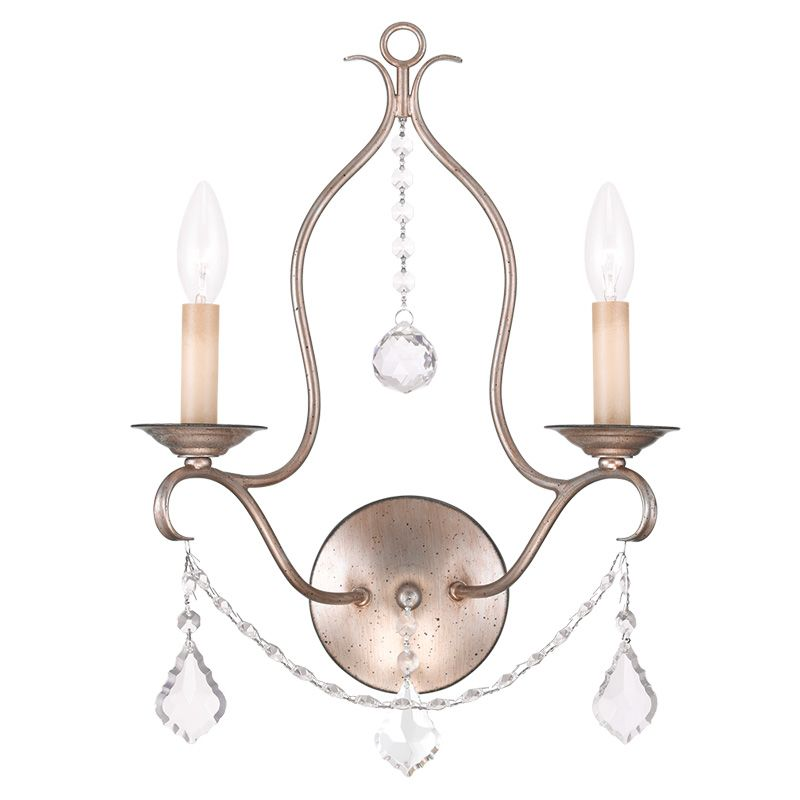 Livex Lighting 6422 Chesterfield 2 Light Wall Sconce Antique Silver