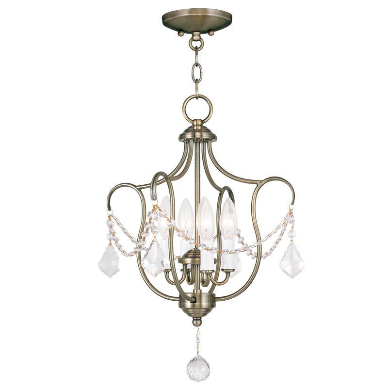 Livex Lighting 6434 Chesterfield 4 Light Pendant Antique Brass Indoor