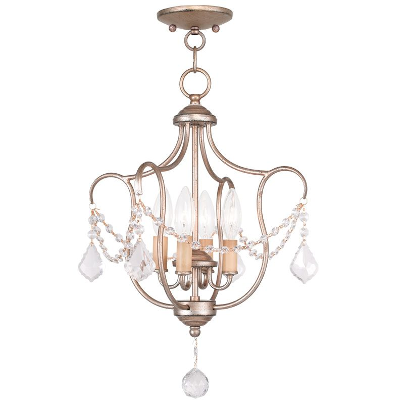 Livex Lighting 6434 Chesterfield 4 Light Pendant Antique Silver Leaf Sale $259.90 ITEM: bci2232886 ID#:6434-73 UPC: 847284035355 :