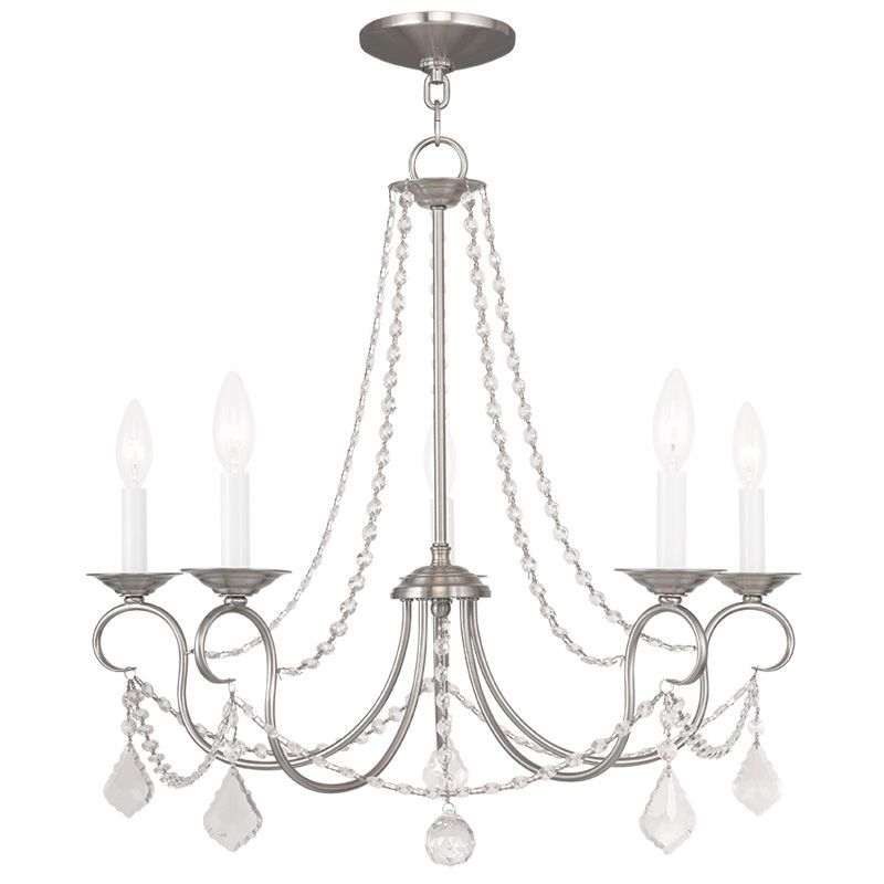 Livex Lighting 6515 Pennington 5 Light 1 Tier Chandelier with Crystal