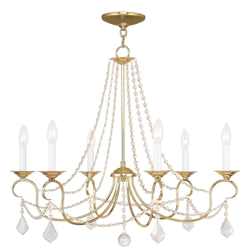 Livex Lighting 6516 Pennington 6 Light 1 Tier Chandelier with Crystal