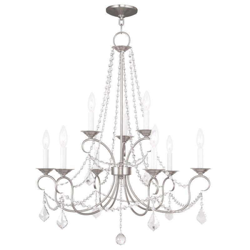 Livex Lighting 6519 Pennington 9 Light 2 Tier Chandelier with Crystal