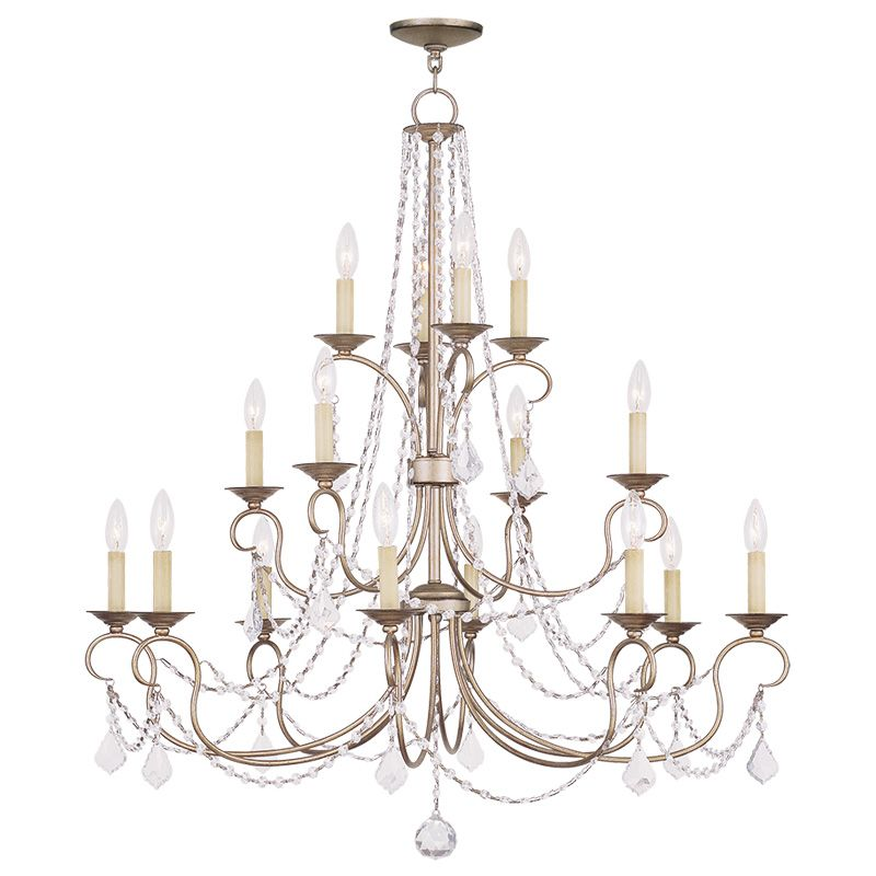 Livex Lighting 6520 Pennington 16 Light 3 Tier Chandelier with Crystal
