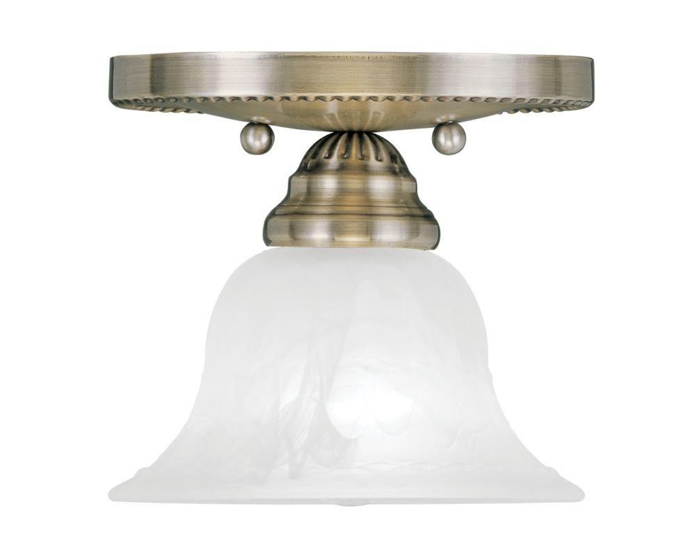Semi Flush Ceiling Lights Glass Brass Fixture Bathroom: Livex Lighting 1530-01 Antique Brass Edgemont Semi-Flush