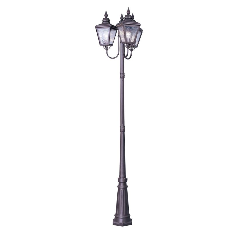 Lighting 2039 07 bronze 3 light outdoor post light with post and base
