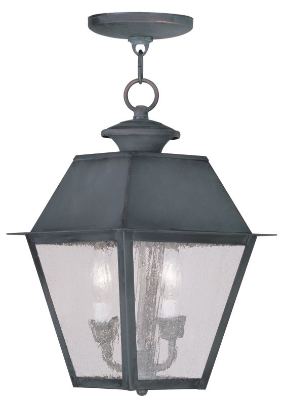 Livex Lighting 2167 Mansfield Outdoor Pendant with 2 Lights Charcoal