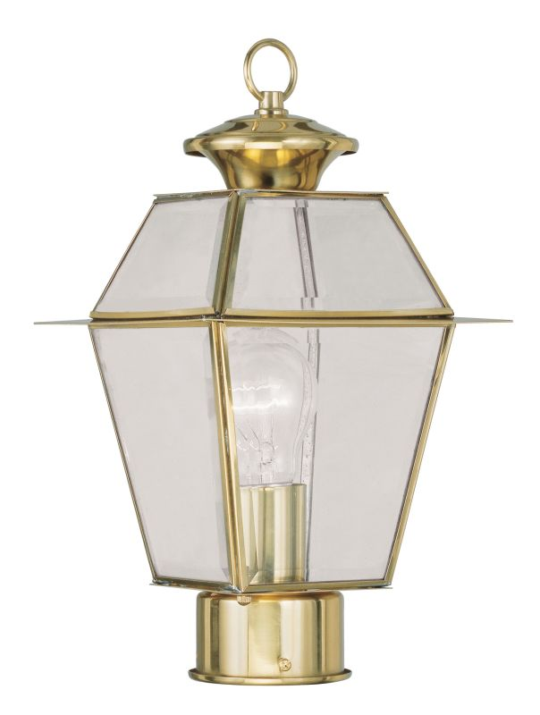 Livex Lighting 2182 Westover Post Light with 1 Light Polished Brass