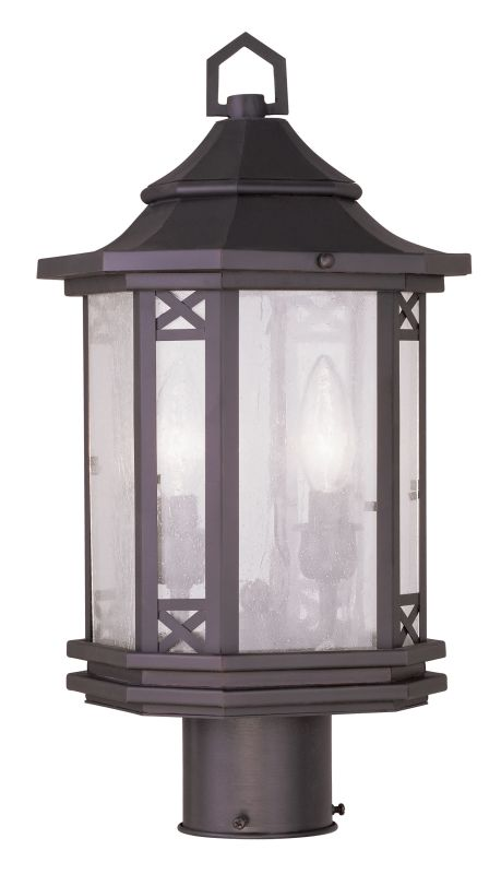 Livex Lighting 2316 Tahoe Post Light with 2 Lights Bronze Outdoor