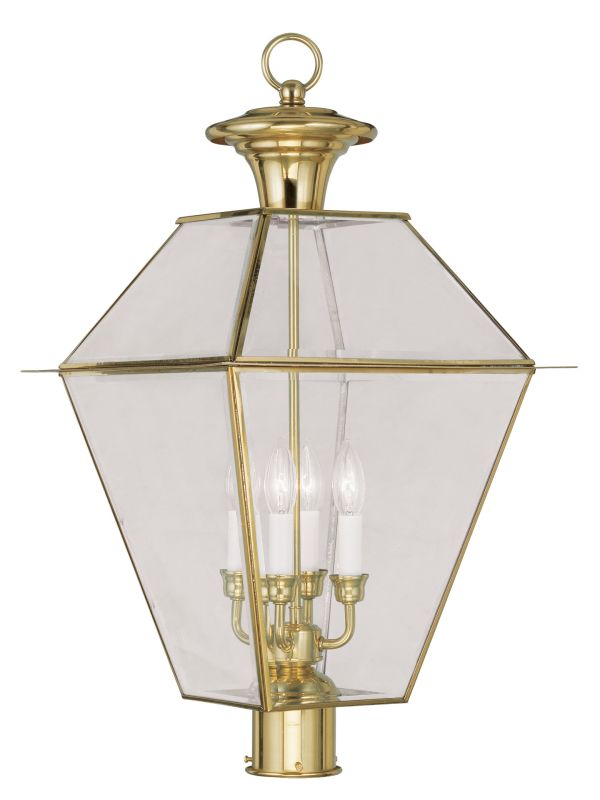 Livex Lighting 2388 4 Light Westover Post Light with Clear Beveled