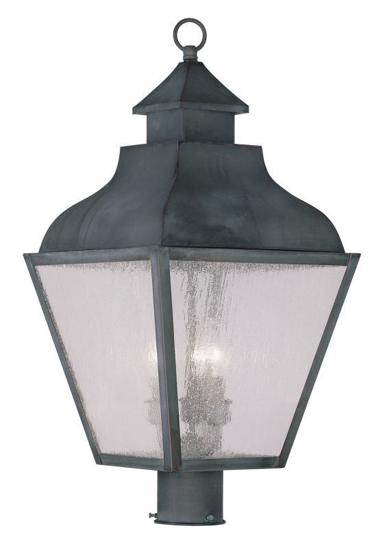 Livex Lighting 2455 Vernon Post Light with 3 Lights Charcoal Outdoor