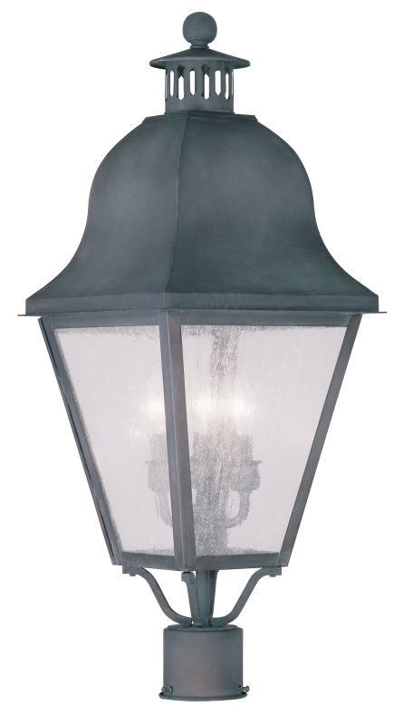 Livex Lighting 2556 Amwell Post Light with 3 Lights Charcoal Outdoor