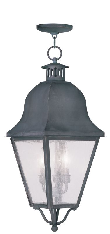 Livex Lighting 2557 Amwell Outdoor Pendant with 3 Lights Charcoal