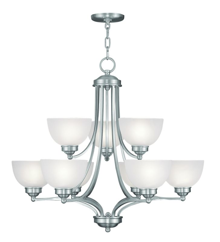 Livex Lighting 4219 9 Light 900 Watt Two Tier Up Lighting Chandelier