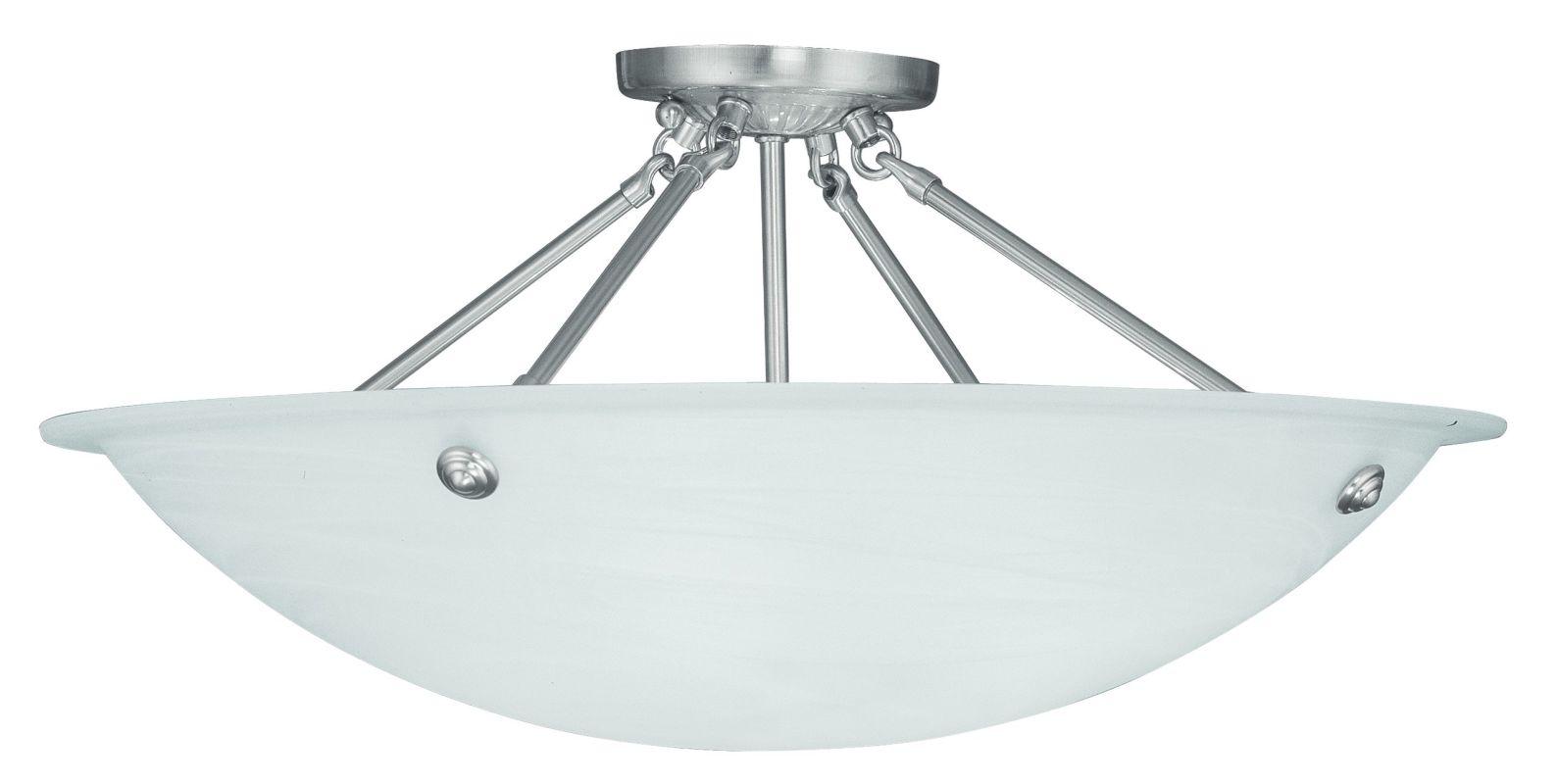 Livex Lighting 4275 Oasis 4 Light Semi-Flush Ceiling Fixture Brushed