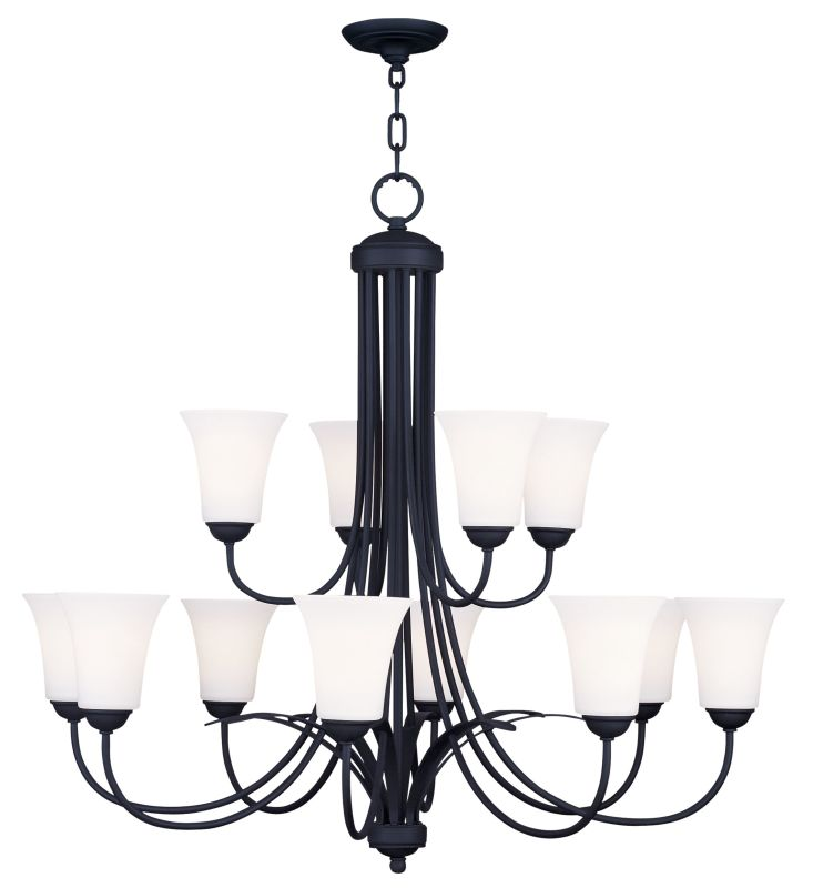 Livex Lighting 6477 Ridgedale Up Lighting 2 Tier Chandelier with 12