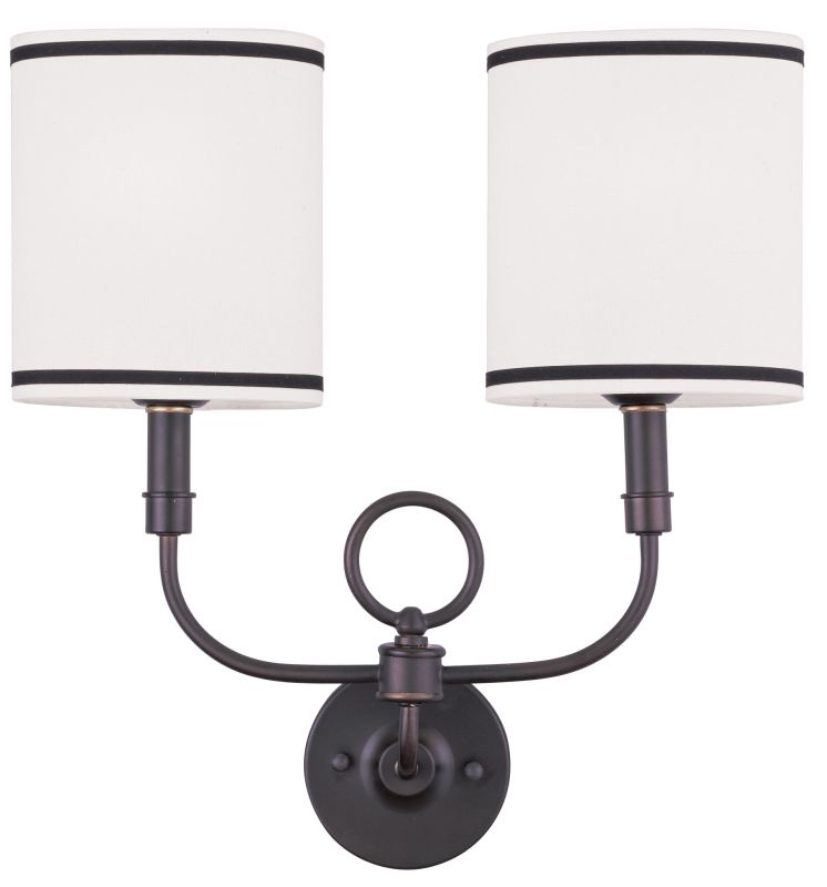 Livex Lighting 9122 Fabric Shade Wall Sconce with 2 Lights Bronze