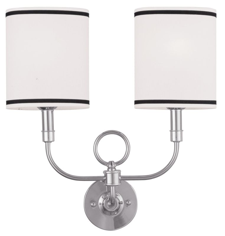 Livex Lighting 9122 Fabric Shade Wall Sconce with 2 Lights Brushed Sale $139.90 ITEM: bci2069830 ID#:9122-91 UPC: 847284029927 :