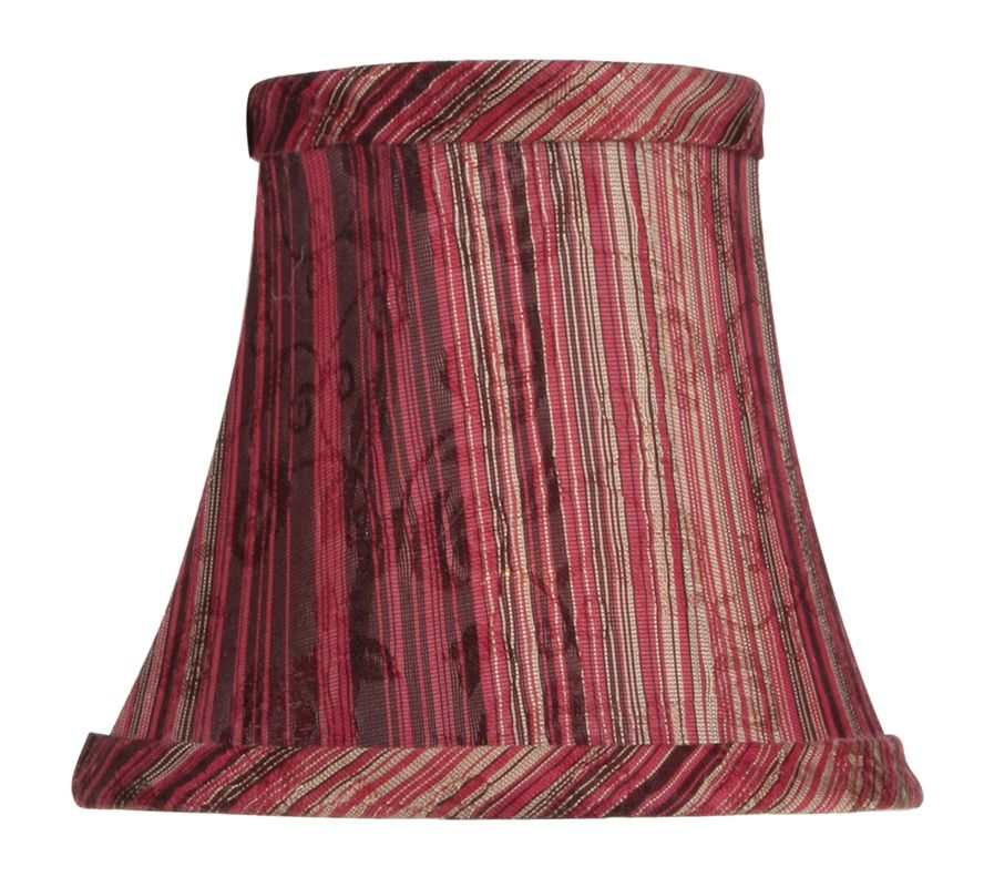 Livex Lighting S312 Chandelier Shade with Burgundy Striped Silk Bell