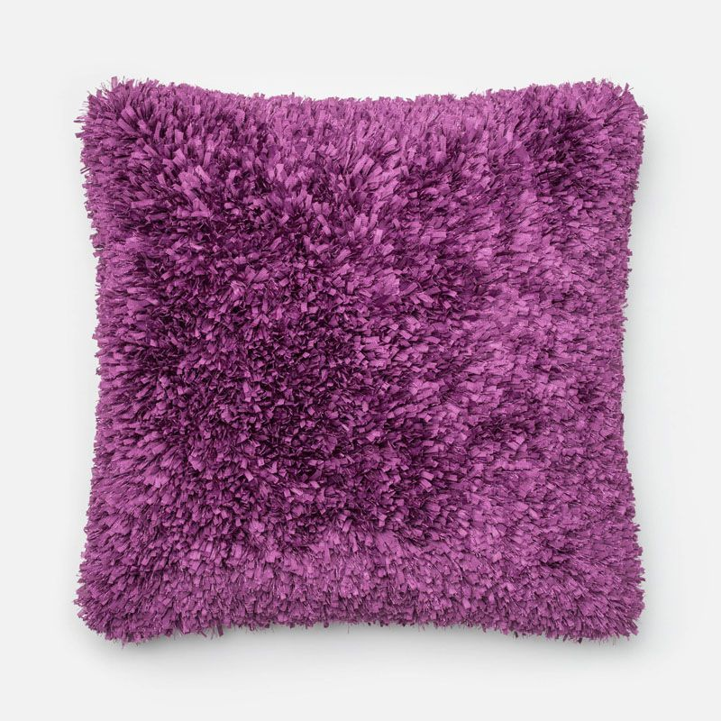 Loloi Rugs P0045 Purple Purple Pillow with Polyester Cover and Choice