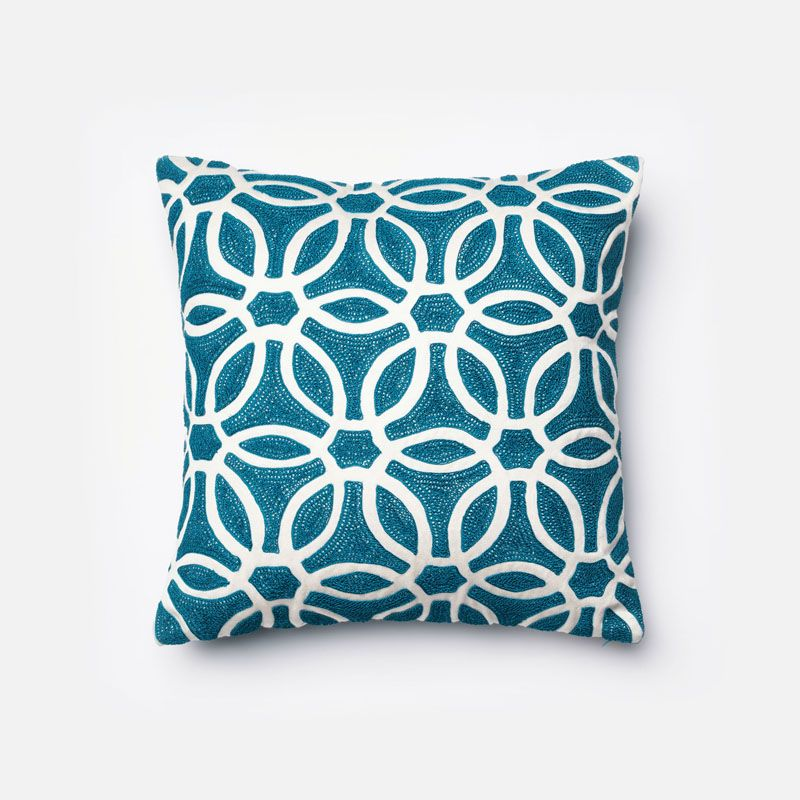 Loloi Rugs P0135 Blue and White Blue and White Pillow with Cotton and