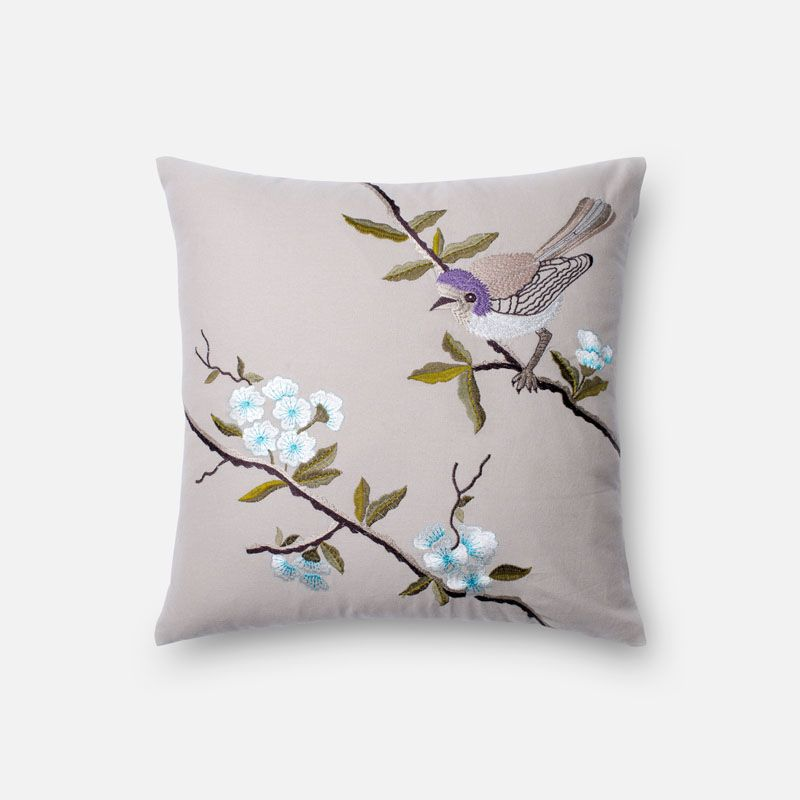 Loloi Rugs P0201 Beige and Lavender Beige and Lavender Pillow with